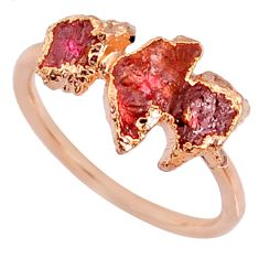 4.46cts natural pink tourmaline raw silver 14k rose gold ring size 6.5 r70686