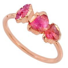 4.29cts natural pink tourmaline raw silver 14k rose gold ring size 9 r70688