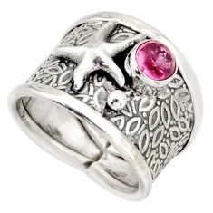 0.99cts natural pink tourmaline silver star fish solitaire ring size 7 d45904