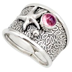 0.85cts natural pink tourmaline silver star fish solitaire ring size 8 d45923