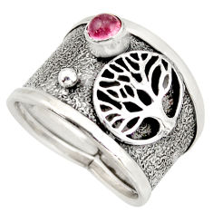 0.88cts natural pink tourmaline silver tree of life solitaire ring size 8 d45882