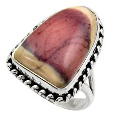 16.01cts natural porcelain jasper (sci fi) silver solitaire ring size 8.5 r28626