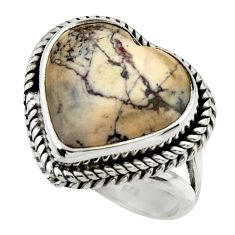 14.00cts natural porcelain jasper (sci fi) silver solitaire ring size 7.5 r28634
