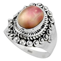 4.30cts natural porcelain jasper (sci fi) silver solitaire ring size 6.5 r53532