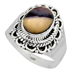 3.98cts natural porcelain jasper (sci fi) silver solitaire ring size 6.5 r53536