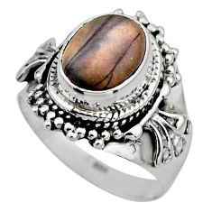 4.46cts natural porcelain jasper (sci fi) silver solitaire ring size 6.5 r53537