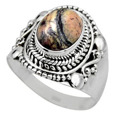 4.22cts natural porcelain jasper (sci fi) silver solitaire ring size 7.5 r53540