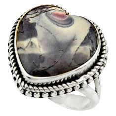16.79cts natural porcelain jasper (sci fi) silver solitaire ring size 7 r28627
