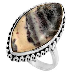 16.63cts natural porcelain jasper (sci fi) silver solitaire ring size 8 r28629