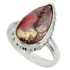 7.19cts natural porcelain jasper 925 silver solitaire ring size 8 r28625
