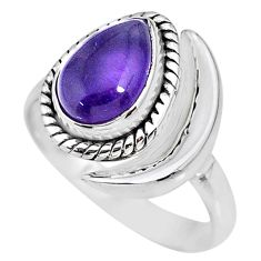 2.53cts natural purple amethyst 925 silver adjustable moon ring size 7 r89624