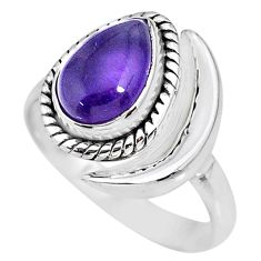 2.62cts natural purple amethyst 925 silver adjustable moon ring size 8 r89626