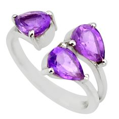 4.18cts natural purple amethyst 925 silver adjustable ring size 6.5 d46374
