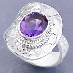 4.22cts natural purple amethyst 925 silver adjustable ring size 8.5 r54752