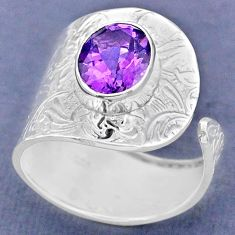 4.42cts natural purple amethyst 925 silver adjustable ring size 8.5 r63388