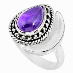 2.68cts natural purple amethyst 925 silver adjustable moon ring size 7.5 r89750