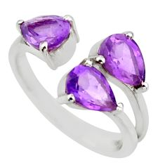 3.95cts natural purple amethyst 925 silver adjustable ring size 6 d46394