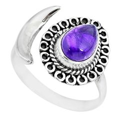 3.13cts natural purple amethyst 925 silver moon ring size 8 r89706