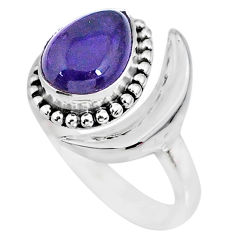 2.67cts natural purple amethyst 925 silver adjustable moon ring size 9 r89682