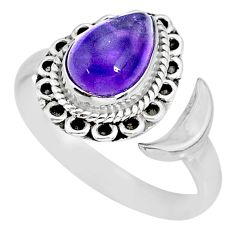 2.67cts natural purple amethyst 925 silver moon ring size 9 r89732