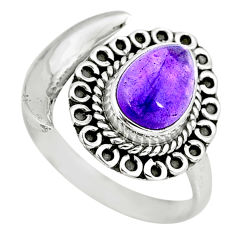 3.21cts natural purple amethyst 925 silver moon ring size 9 r89734