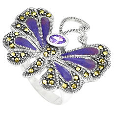1.35cts natural purple amethyst 925 silver butterfly ring size 8 c16286