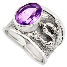 5.08cts natural purple amethyst 925 silver dragon solitaire ring size 8 d45921