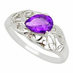 1.58cts natural purple amethyst 925 silver solitaire ring jewelry size 6 r25661