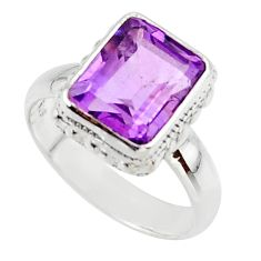 4.25cts natural purple amethyst 925 silver solitaire ring jewelry size 6 r48107
