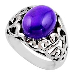 5.53cts natural purple amethyst 925 silver solitaire ring jewelry size 6 r54609