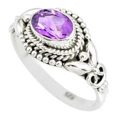 1.48cts natural purple amethyst 925 silver solitaire ring jewelry size 6 r85570