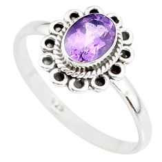1.48cts natural purple amethyst 925 silver solitaire ring jewelry size 6 r85576