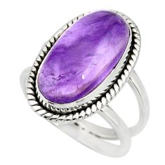 6.48cts natural purple amethyst 925 silver solitaire ring jewelry size 7 r27289