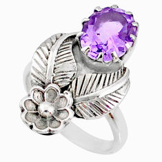 4.02cts natural purple amethyst 925 silver solitaire ring jewelry size 7 r67482