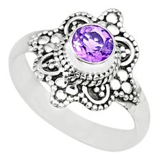 0.98cts natural purple amethyst 925 silver solitaire handmade ring size 7 r74728
