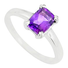 1.85cts natural purple amethyst 925 silver solitaire ring jewelry size 7 r83913