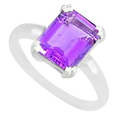 3.93cts natural purple amethyst 925 silver solitaire ring jewelry size 7 r83942
