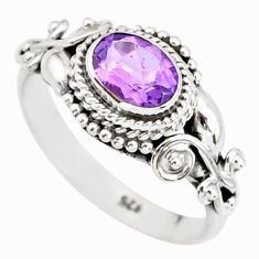1.54cts natural purple amethyst 925 silver solitaire ring jewelry size 7 r85557