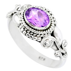 1.46cts natural purple amethyst 925 silver solitaire ring jewelry size 7 r85568