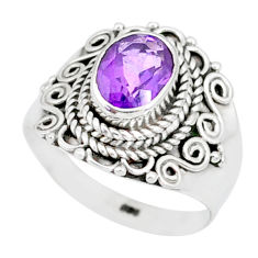 2.14cts natural purple amethyst 925 silver solitaire ring jewelry size 7 r87049