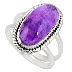 6.32cts natural purple amethyst 925 silver solitaire ring jewelry size 8 r27291