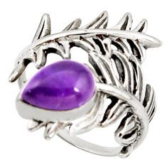 2.23cts natural purple amethyst 925 silver solitaire ring jewelry size 8 r37030