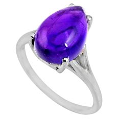 5.43cts natural purple amethyst 925 silver solitaire ring jewelry size 8 r53965