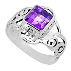 2.98cts natural purple amethyst 925 silver solitaire ring jewelry size 8 r54428