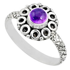 1.01cts natural purple amethyst 925 silver solitaire ring jewelry size 8 r64826