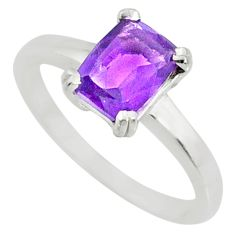 2.11cts natural purple amethyst 925 silver solitaire ring jewelry size 8 r71102