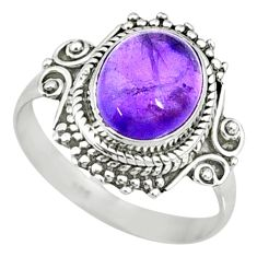 4.02cts natural purple amethyst 925 silver solitaire handmade ring size 8 r73389