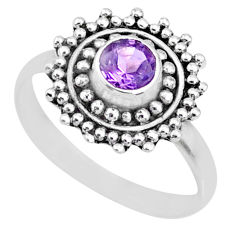 0.91cts natural purple amethyst 925 silver solitaire handmade ring size 8 r74786