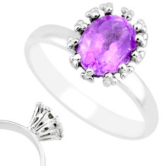 2.24cts natural purple amethyst 925 silver solitaire ring jewelry size 8 r82815