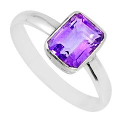 2.26cts natural purple amethyst 925 silver solitaire ring jewelry size 8 r84038
